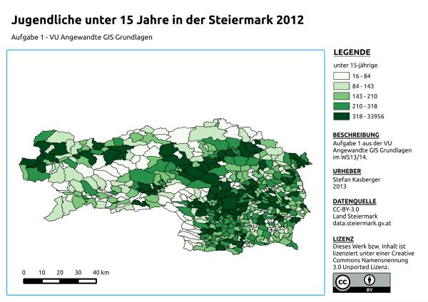 Karte Jugendliche unter 15 Jahre in der Steiermark 2012