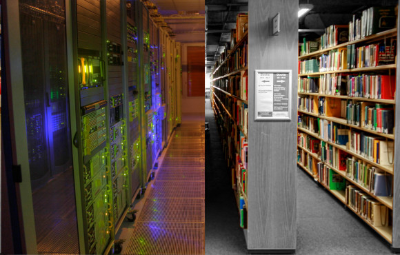 Collage aus Datacenter, cc by-sa 2.0 von Arthur Caranta (links) und Library, cc by 2.0 von Loughborough University Library